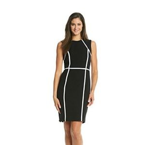 Calvin Klein Black White Sheath Piping Dress